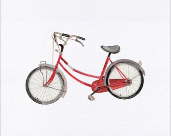 Retro Red Bicycle Unframed Watercolor Art Print