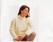 Knitting Pattern  Womens Aran Sweater Jumper  Roll Neck download  30 to 40 in bust Small to Large