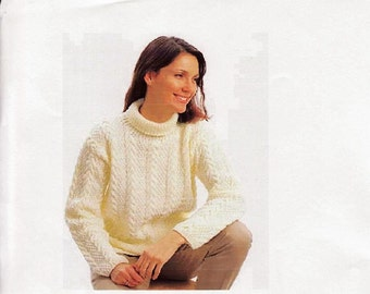Knitting Pattern - Womens Aran Sweater Jumper - Roll Neck download  30 to 40 in bust Small to Large
