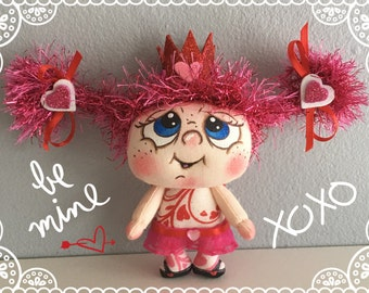 "OOAK Artist Miniature Cloth Pocket VALENTINE Rag Doll ""CHERISH"" only 3 1/2"" high!"