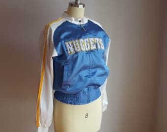 vintage, satin, bomber, team jacket, women's medium
