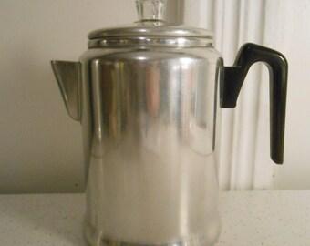 Century Aluminum Wear 5 to 9 Cup Coffee Percolator/Non Electric Stove Top Coffee Percolator/50's-60's Era