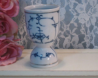 Antique Meissen Flow Blue Onion Blue Danube Double Egg Cup, Signed Germany, Hand Painted, Early Piece, 1800s Victorian Porcelain
