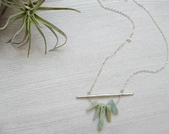 Aquamarine Pendant Necklace Spike Necklace March Birthstone Necklace Minimalist Jewelry Gemstone Necklace Spring Jewelry Statement Necklace