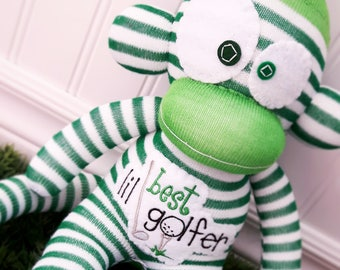 Best Lil Golfer Sock Monkey Doll - with Optional Custom Embroidered Name