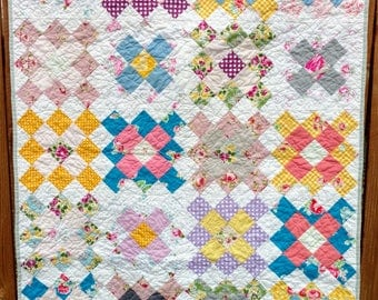 Colorful Floral Baby Girl Quilt Great for the Stroller, Crib, or Playmat