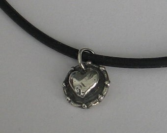 Rescued Upcycled Vintage Sterling Tiny Heart Pendant
