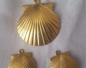 Brass Clamshell Components 3 piece set Bronze/Brass/Gold Component Destash