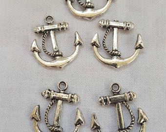 Anchor Pendant Charms Silver Plate 5 piece set Component Destash