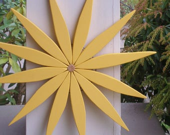 Cheerful Yellow Wooden Wreath Brightens Your Day! - Colorful Decor for Home Entryway - Garden - Deck - Fence - Outdoor Art by Laughing Creek