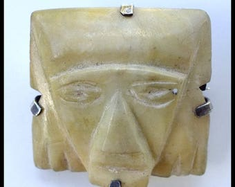 Carved Jade Tribal Mask Pin Mexico with Sterling Silver Backing Primitive Free Shipping
