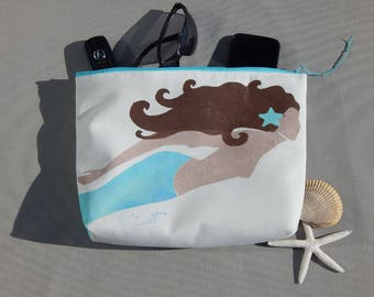 "EVERYTHING BAG mermaid zippered case tablet cosmetic makeup 9""x12""x2.5"" travel pouch toiletry purse organizer painted lined washable clutch"