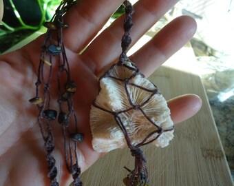 White Coral Necklace - White Coral Jewelry, Handwoven Coral Pendant
