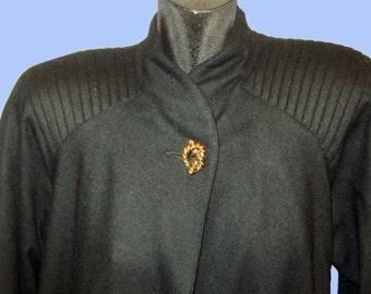 Women's Vintage Black wool Classic style Coat Sz M