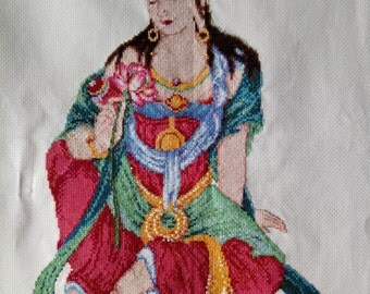 New Finished Completed Cross Stitch - Manjushri - P195