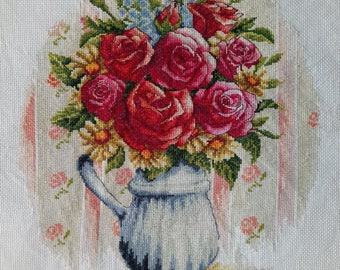 New Finished Completed Cross Stitch - Rose vase - F23k