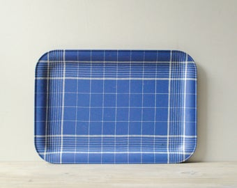 Vintage Blue Plaid Metal Tray, French Tray