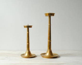 Large Vintage Brass Candle Holder Set, Pair of Pillar Candle Holders