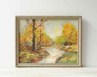 Vintage Fall Landscape Painting