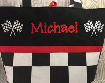 Checkered flag diaper bag, black and white checks baby bag, tote, racing flag, checkered flag diaper bag,  tote you choose name and colors