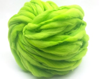 Thick and thin super bulky yarn in hand dyed chartreuse merino wool - 54 yards and 3.2 ounces/ 92 grams