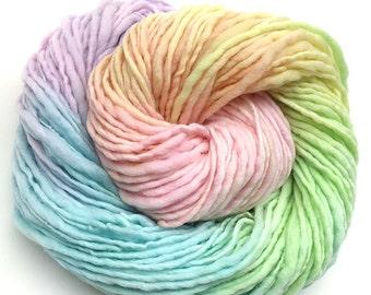Pastel rainbow yarn handspun bulky in merino wool - 100 yards, 2.8 ounces and 80 grams