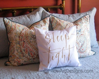 Sleep Tight Bed Decorative Throw Pillow Cover with Words 16 X 16 Hand Painted Made in Canada Ready to Ship