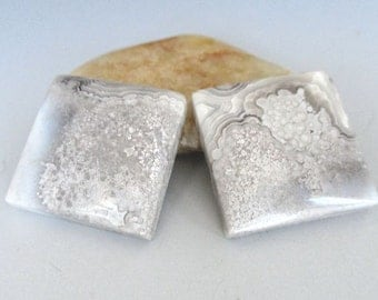 Crazy Lace Rosetta Stone Square Matched Pair Cabochons 20x20mm