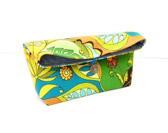 Fold over clutch purse, teal yellow floral, button closure, cosmetic bag, everyday bag, foldover handbag, fold over purse