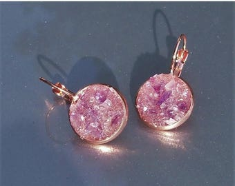 15% OFF Amethyst Crater Earrings Lever Back Copper Earrings