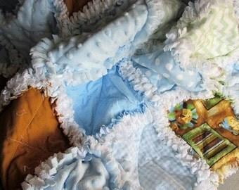 Soft and sweet baby boy raq quilt, minky, zoo animals, polka dots