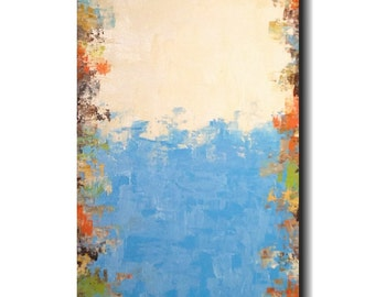 Original Large Abstract painting - 18 X 36- by Artist JMJartstudio- Reaching  -Wall art- Blue painting-XXl painting