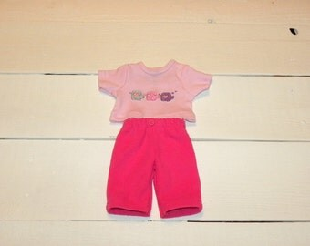 Candy Pink Fleece Pants and Pink Tshirt - 12 inch doll clothes