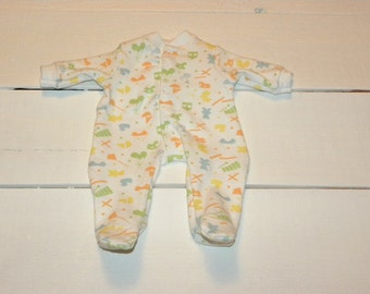 White Patterned Footed Sleeper - 14 - 15 inch boy doll clothes