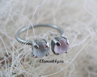 Adjustable snake base ring, Swarovski ring, Pastel pink white crystal ring, Antique silver finishing, 2 crystals ring, Gift for friends