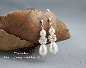 Bridal pearl earrings Rhinestone ball Swarovski cream ivory white pear shaped pearls Beaded Wedding jewellery Maid of honor gift Bridesmaid
