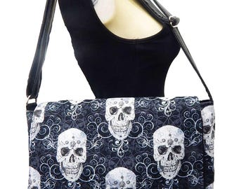 "USA Handmade Netbook bag Style with ""Shiny Metalik Skulls"" Pattern Messenger bag With Adjustable Handle Purse, Cotton, New"