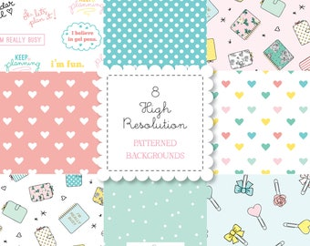 Retro PLANNER GIRL Patterned Backgrounds set-instant download-for personal use -digital papers, hearts, planner clips, bando, happy planner