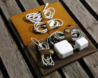 Personalized Leather cable management cord organizer cable organiser charger bag charger organizer cord case pouch CO05PZ