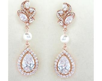 Rose Gold Bridal Earrings Wedding Cubic Zirconia  Tear Drops Pearl Bridal Jewelry Rose Gold Crystal Wedding Earrings