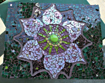 Lotus Mosaic Wall Art, Mosaic Wall Hanging, Bohemian Art, Hippie Decor, For The Home, Wedding, Birthday, Great Gift, Anniversary, Retirement
