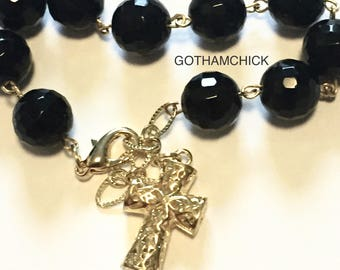 Black as night faceted black agate Rosary Bracelet