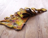 Mustard felted long scarf