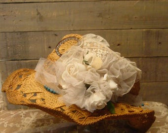 Cowgirl Hat - Shabby and Chic Hat - Wedding Hat - Farmhouse Hat - Woven Hat - Vintage Flowers - Gypsy Style Chic Hat