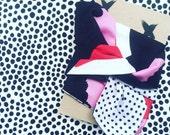 Marimekko Unikko Fabric, Purple and Red Headscarf Turban Headband Unikko Fabric