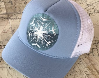 Hand painted snow flake SMALLer sized short billed trucker hat