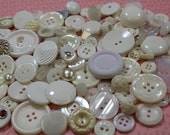 White Plastic Buttons 100 New and Old Plastic Crafting Buttons