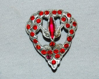 C Clasp Antique Victorian Brooch / Signed T&G / Red Rhinestone/ old jewelry / Vintage