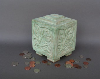 Light Green Stoneware Coin Bank with Arts & Crafts Leaf Design