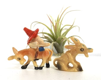 vintage 60s celluloid miniature figurines donkey sombrero mexican mexico mini tiny animal decorative home decor plastic kitsch realistic